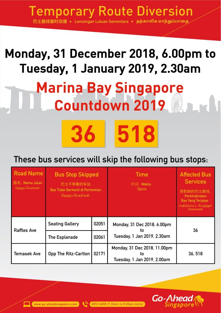 Go-Ahead Singapore Diversion Poster for Marina Bay Singapore Countdown 2019