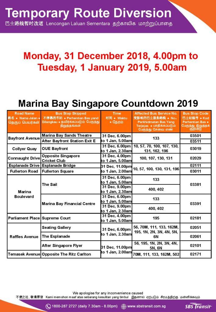 SBS Transit Bus Diversion Poster for Marina Bay Singapore Countdown 2019