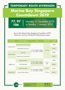 Tower Transit Diversion Poster for Marina Bay Singapore Countdown 2019