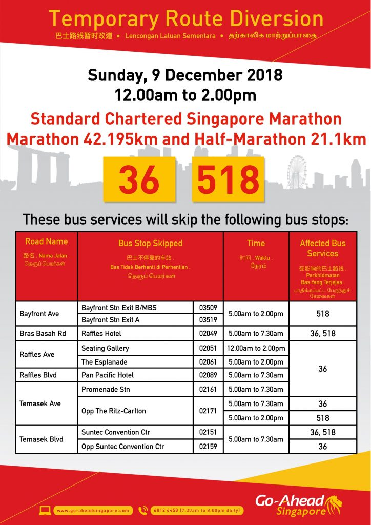 Go-Ahead Singapore Poster for Standard Chartered Singapore Marathon - 42.195km Marathon & 21.1km Half Marathon (2018)