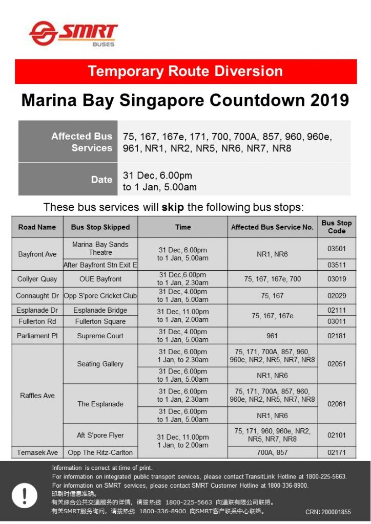 SMRT Buses Diversion Poster for Marina Bay Singapore Countdown 2019