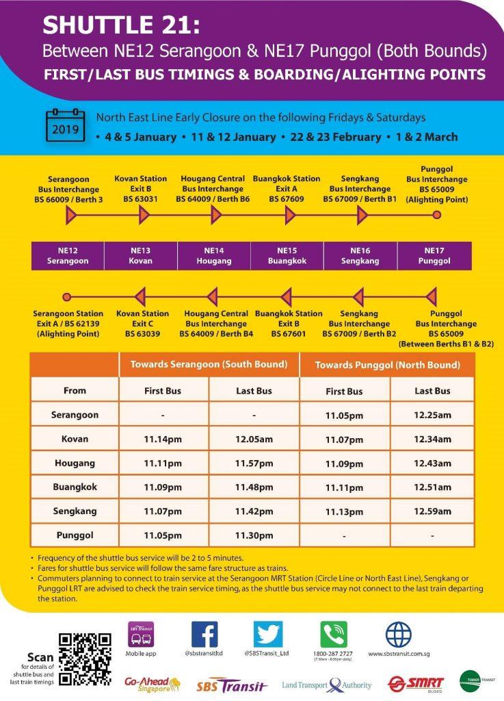 [Jan – Mar 2019] Shuttle 21 (Serangoon – Punggol) Departure Timings from Stations