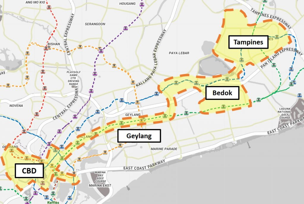 On Demand Public Bus - Service Area for Night Bus (CBD to Bedok / Tampines)