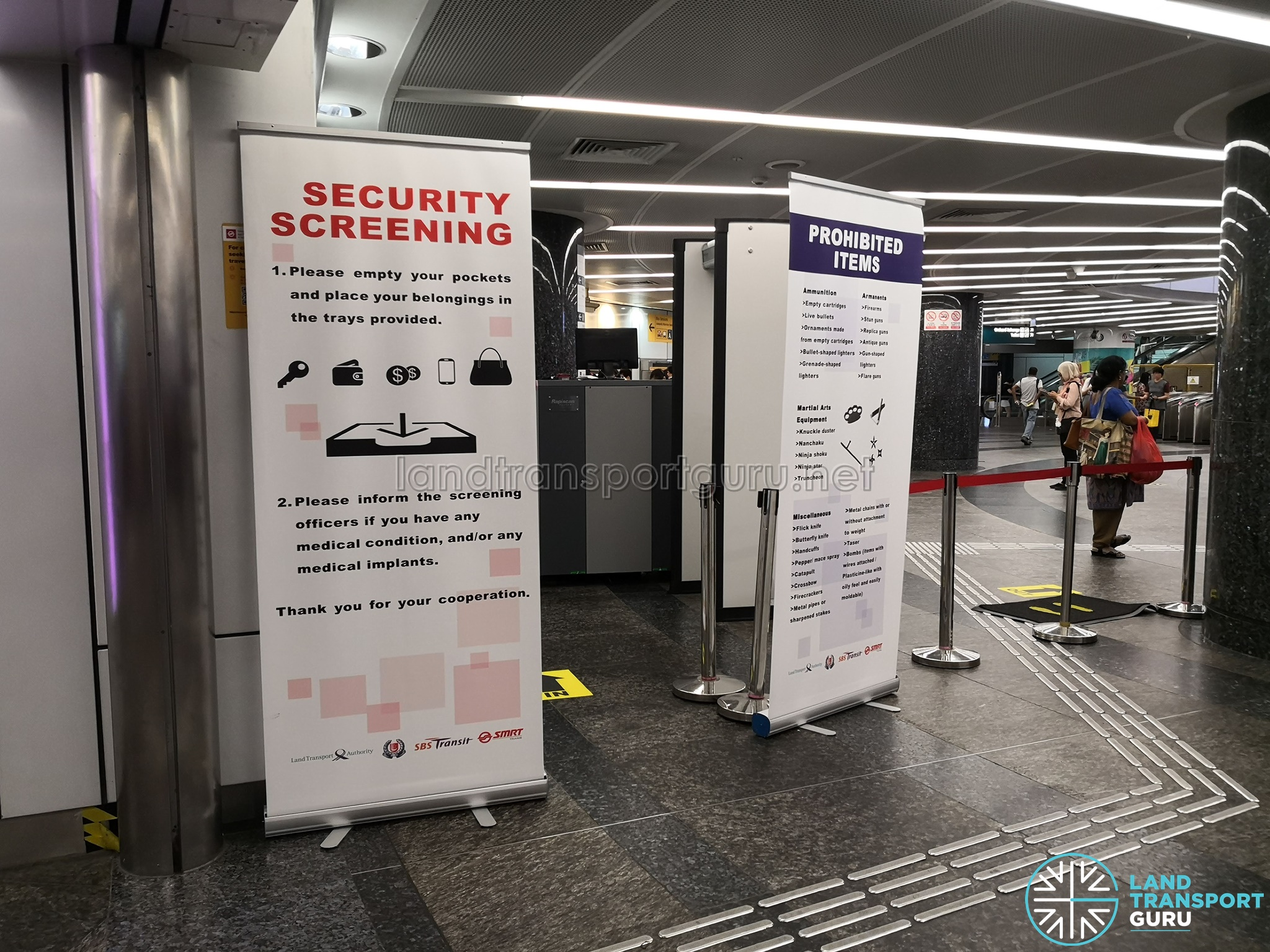Security Screening Notice at MRT Station