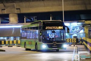 On-Demand Public Bus (Night Bus) NB-6 – SMRT MAN A22 (SG1719S) - Terminating its trip at Tampines Interchange