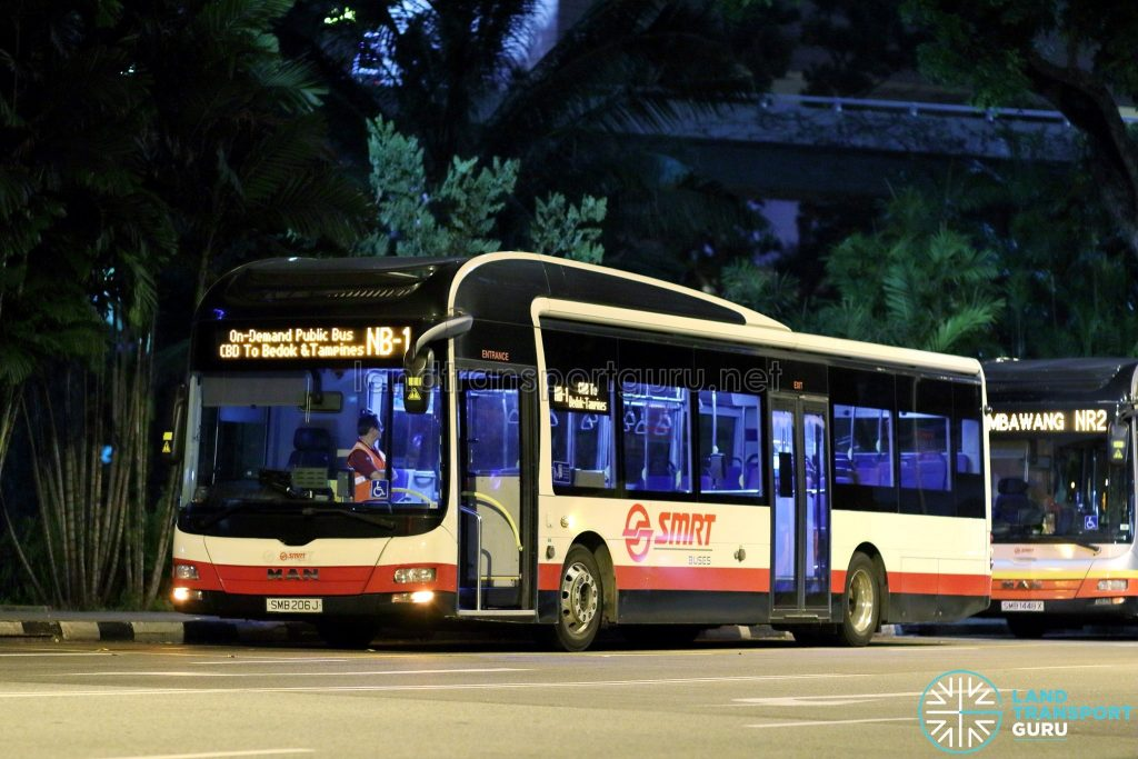 On-Demand Public Bus (Night Bus) NB-1 – SMRT MAN A22 (SMB206J)