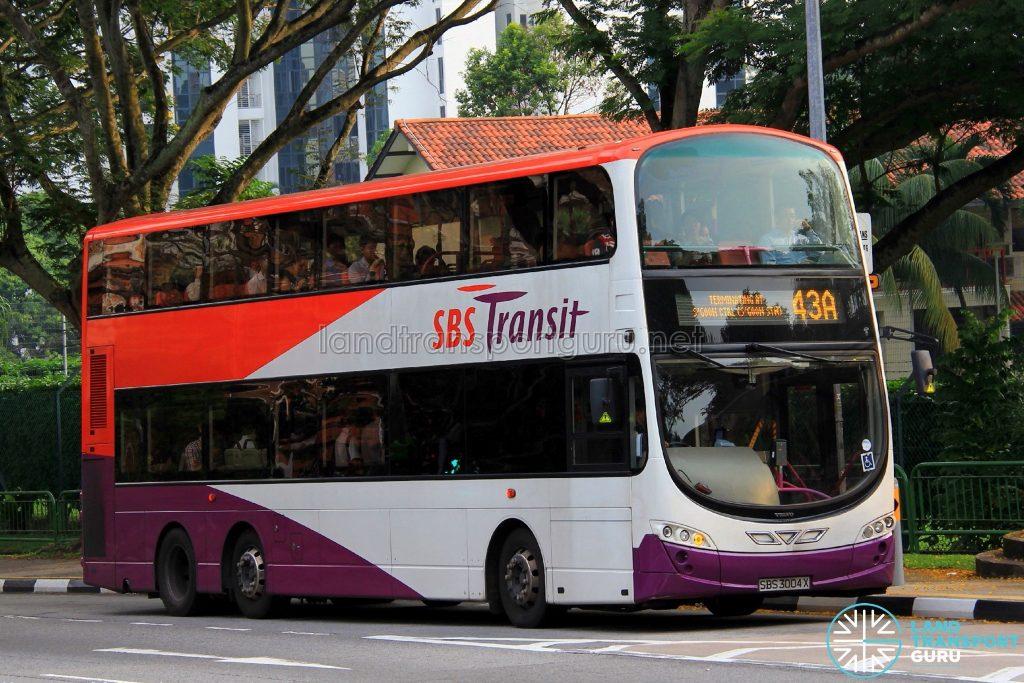 Bus Service 43A - SBS Transit Volvo B9TL Wright (SBS3004X)