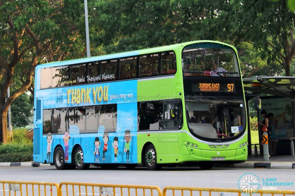Bus 97 - Tower Transit Volvo B9TL Wright (SBS3374C)