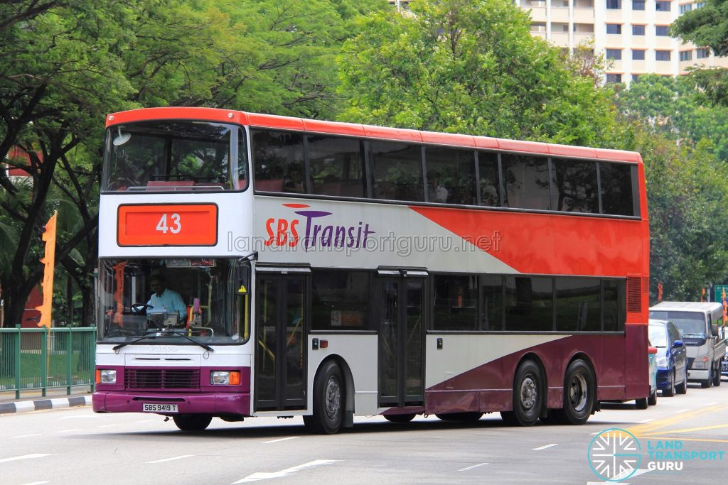 Bus Service 43 - SBS Transit Volvo Olympian 3-Axles (SBS9419T)