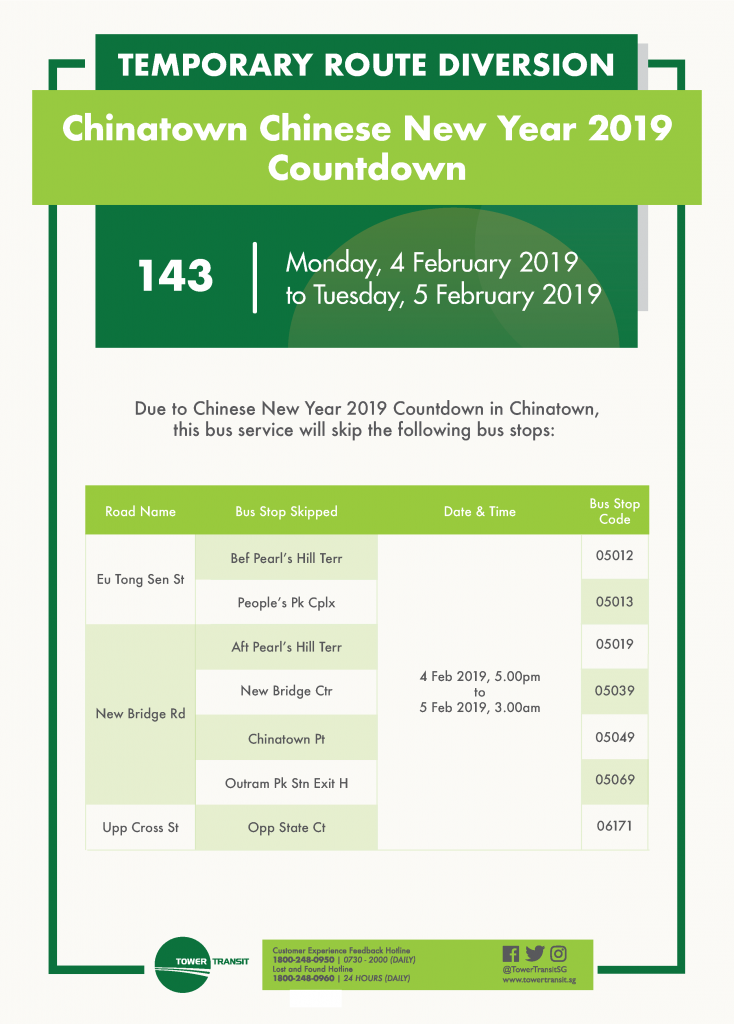 Tower Transit Poster for Chinatown Chinese New Year 2019 Countdown Bus Diversion