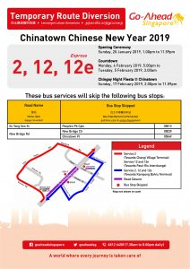 Go-Ahead Singapore Poster for Chinatown Chinese New Year 2019 Celebrations Bus Diversions