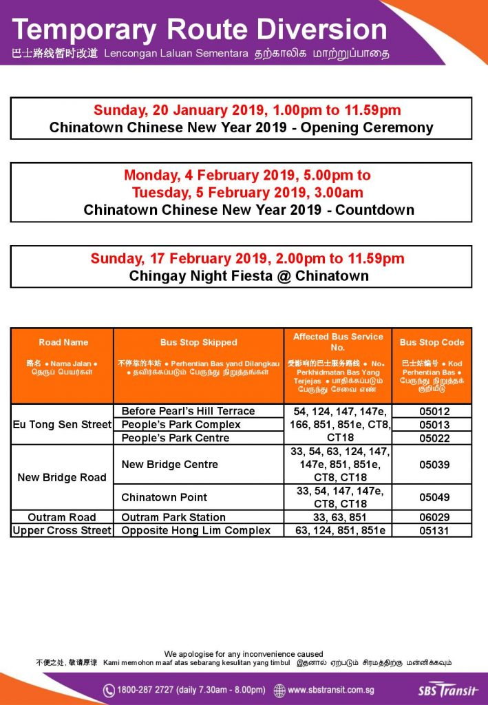 SBS Transit Poster for Chinatown Chinese New Year 2019 Celebrations Bus Diversions