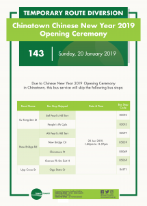 Tower Transit Bus Service Diversion Poster for Chinatown Chinese New Year 2019 Opening Ceremony