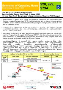 New Short Trip Service 973A & Extension of Operating Hours for Services 920 & 922