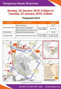 SBS Transit Bus Service Diversion Poster for Thaipusam 2019