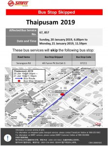 SMRT Buses Bus Stop Skipped Poster for Thaipusam 2019