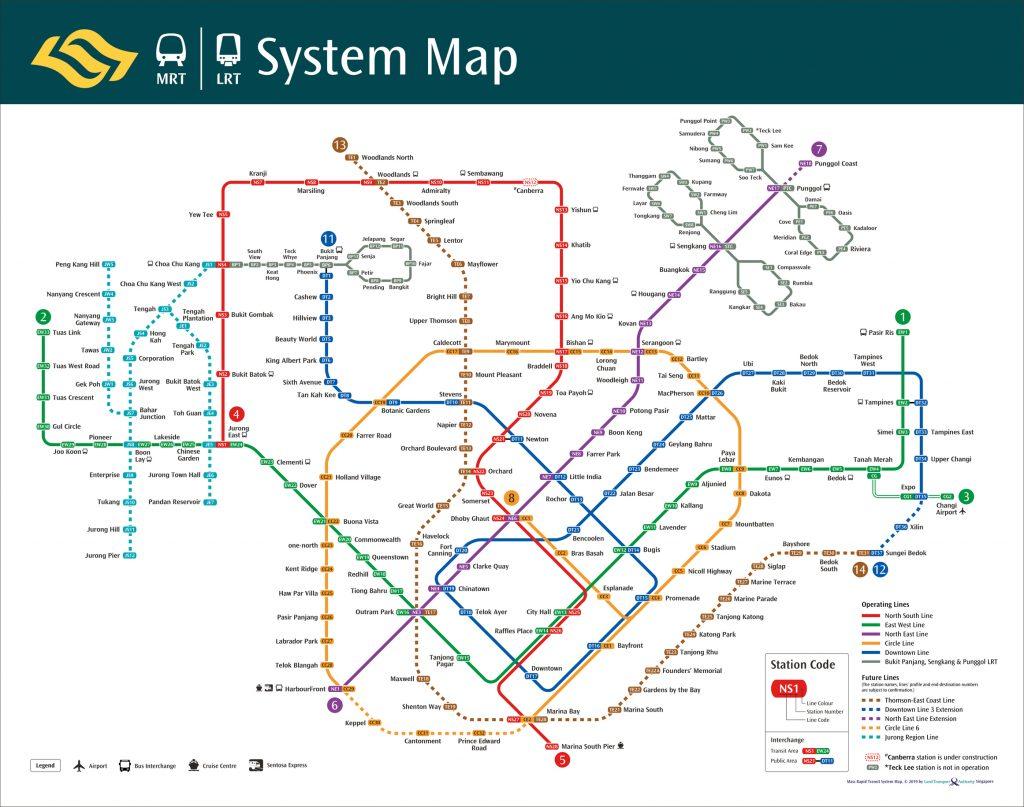 Singapore MRT Train Network Map as of January 2019
