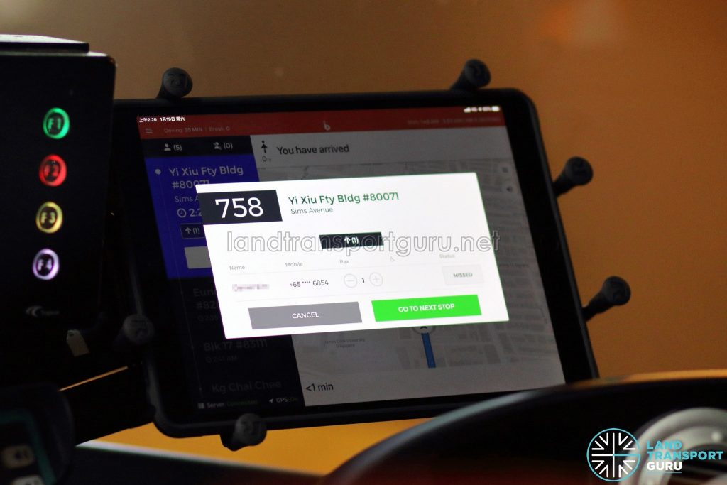 Tablet with BusNow Driver Application (Night Bus) - Pick Up