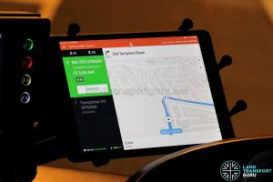 Tablet with BusNow Driver Application (Night Bus) - Navigation via Old Tampines Road