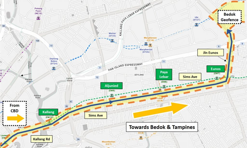 LTA On Demand Public Bus - Service Area for Night Bus (Geylang)