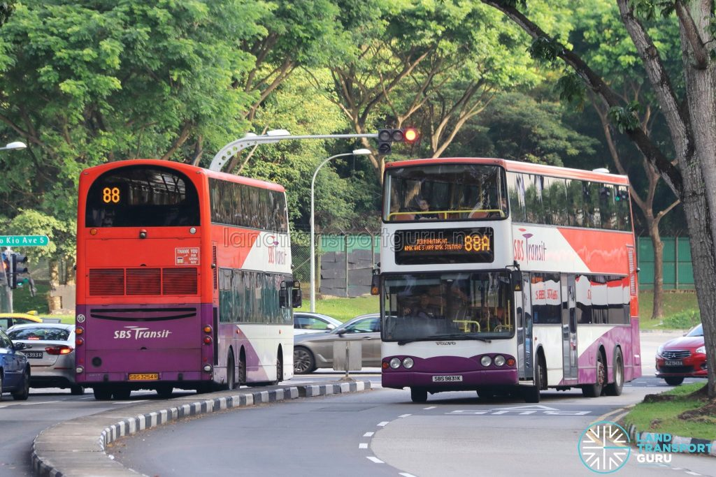 SBS Transit Short Trip Service 88A and its parent Service 88 along Ang Mo Kio Avenue 10