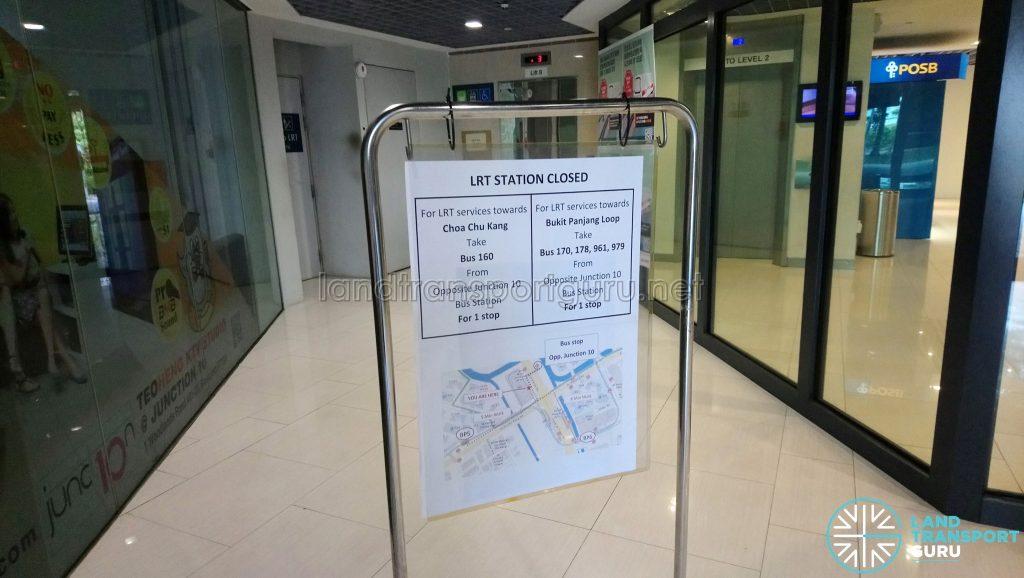 LRT Station Closed Notice at Ten Mile Junction Station