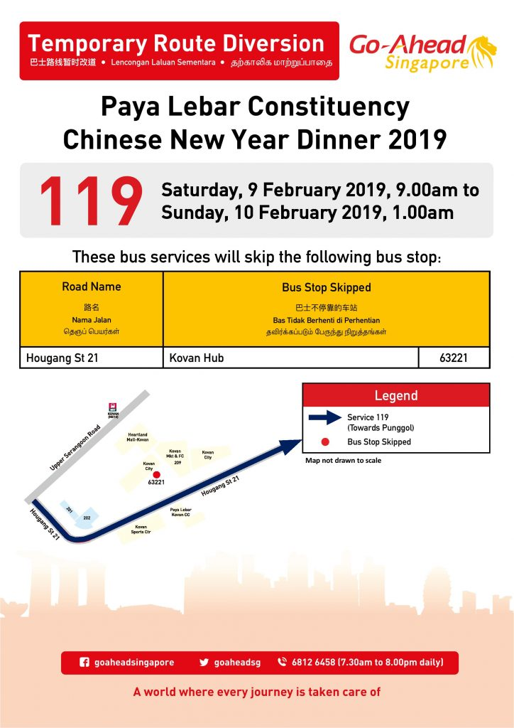 Go-Ahead Singapore Bus Diversion Poster for Paya Lebar Constituency Chinese New Year Dinner 2019