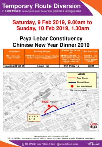 SBS Transit Bus Diversion Poster for Paya Lebar Constituency Chinese New Year Dinner 2019