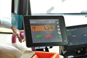 Assitive Passenger Information System - Driver Display Unit indicating Passenger with Disabilities intending to board further down the route (Photo: LTA)