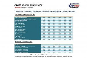 TS6 and 783 Schedule (Jan 2019) - Weekdays towards Changi Airport