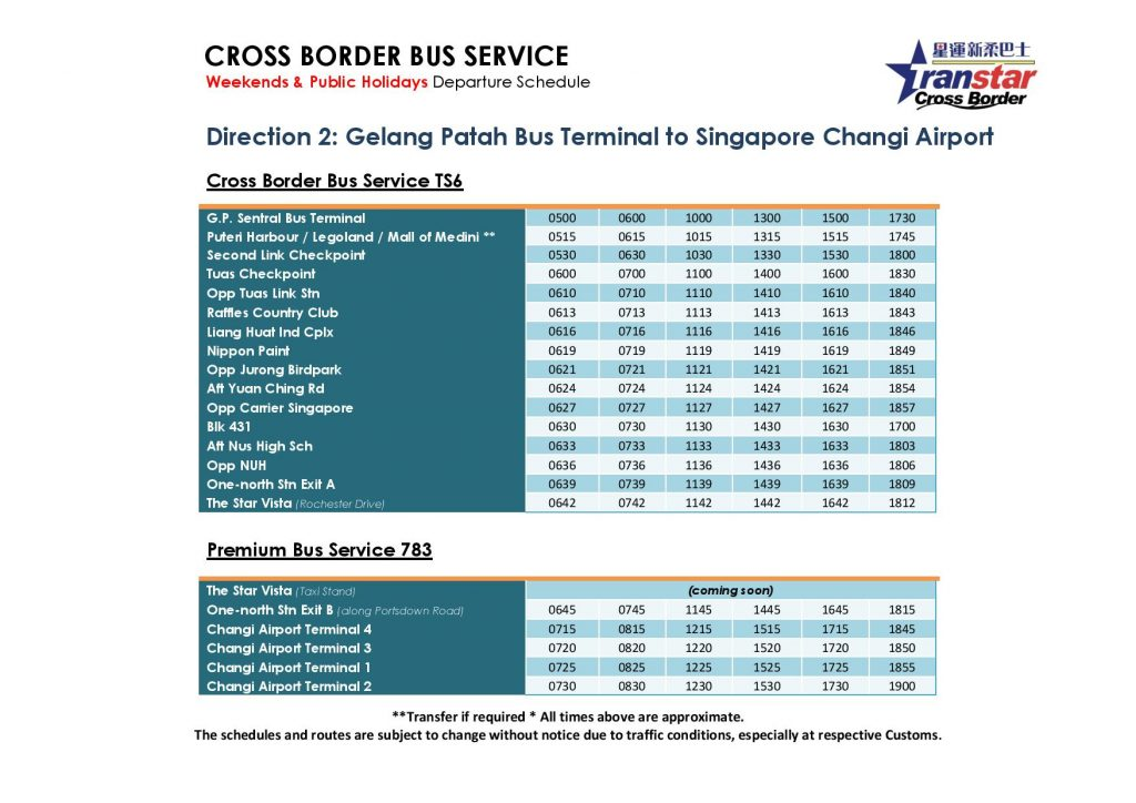TS6 and 783 Schedule (Jan 2019) - Weekends & Public Holidays towards Changi Airport