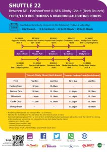 [Mar 2019] Shuttle 22 (HarbourFront—Dhoby Ghaut) Departure Timings from Stations