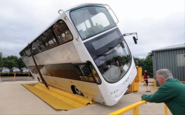 Volvo B9TL (SBS7500D) undergoing a tilt test (Photo: RouteOne Magazine Issue 342)