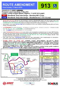 Service 913 Route Amendment & Service 913M Introduction Poster