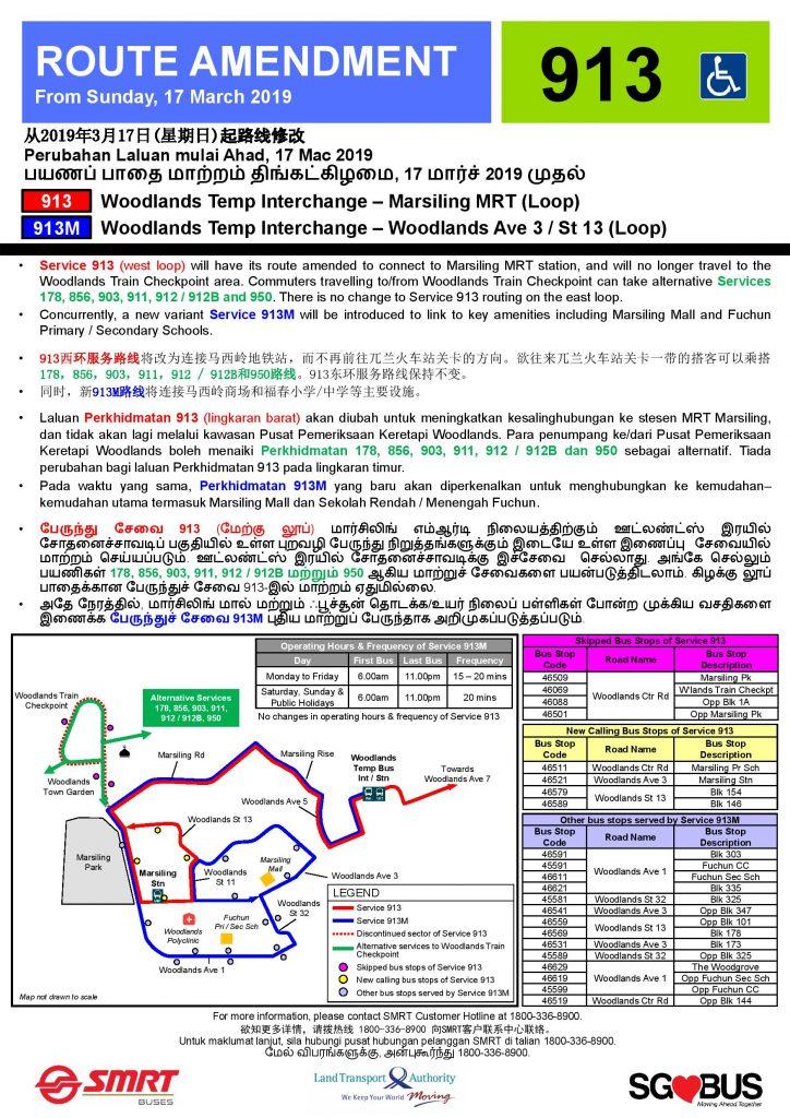 Service 913 Route Amendment & Service 913M Introduction Poster