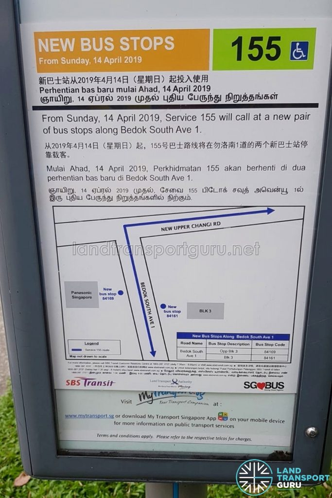 New Bus Stops Poster for Bus Service 155 along Bedok South Avenue 1