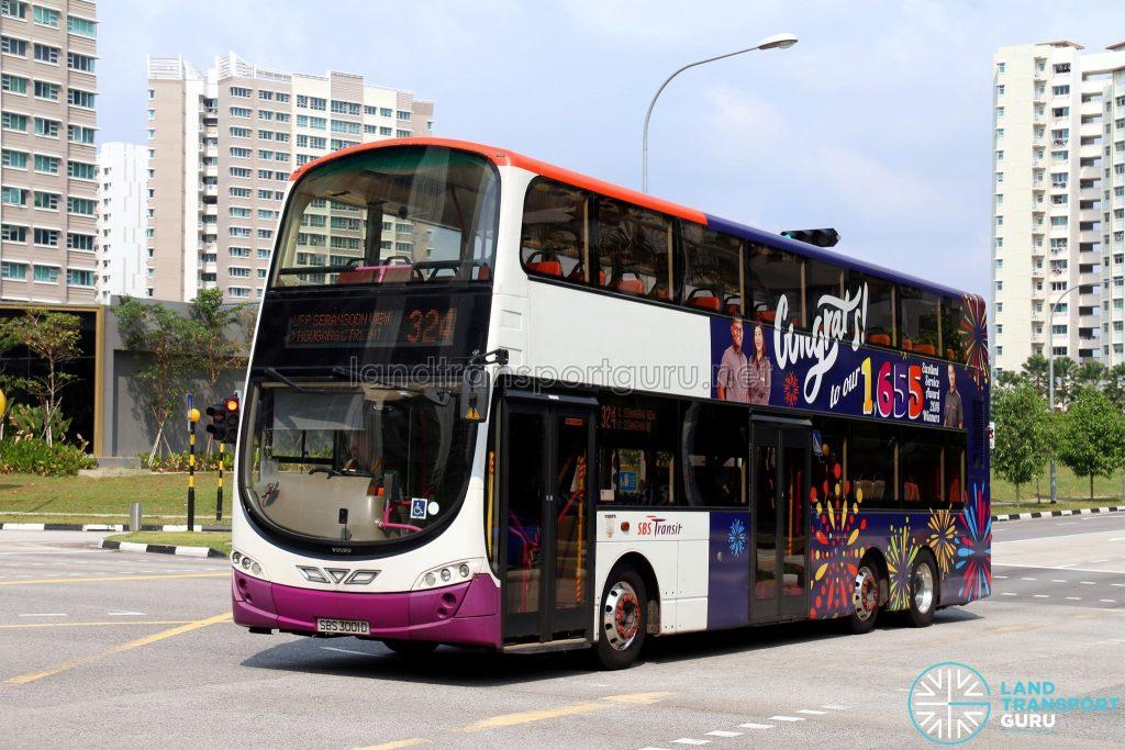 Feeder Bus Service 324 - SBS Transit Volvo B9TL Wright (SBS3001D)