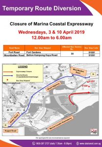 SBS Transit Poster for MCE Closure, Eastbound (Apr 2019)