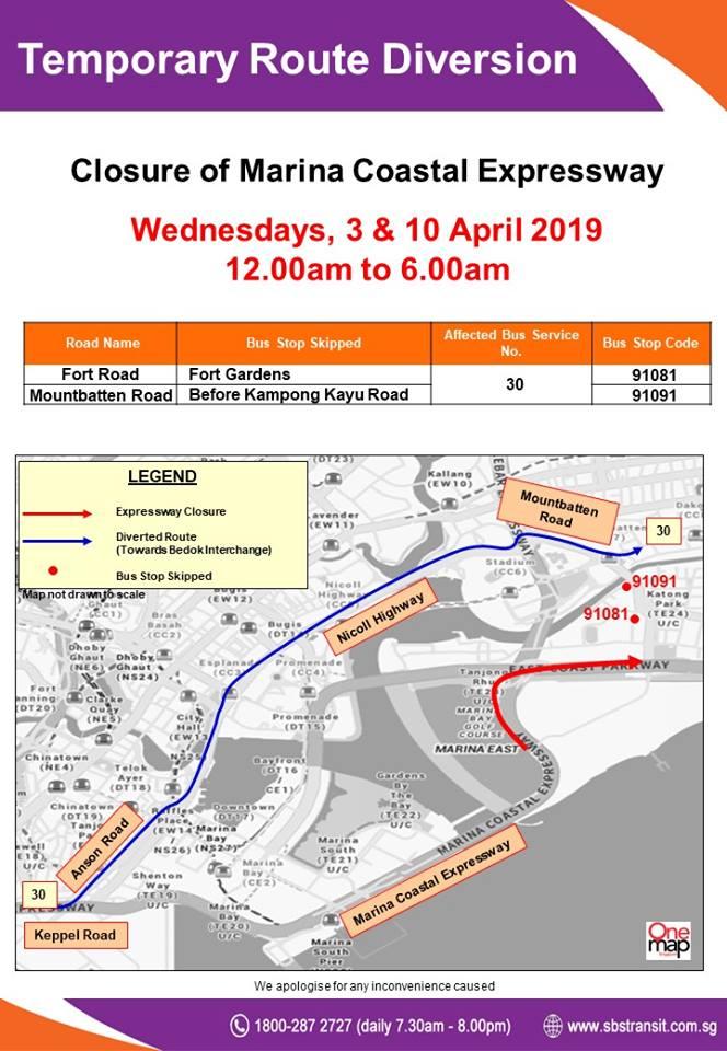 SBS Transit Poster for MCE Closure, Eastbound (Apr 2019)