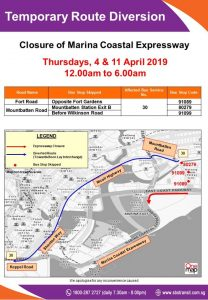 SBS Transit Poster for MCE Closure, Westbound (Apr 2019)