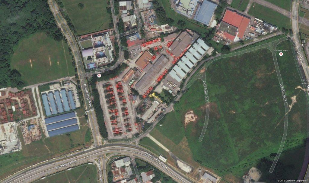 Aerial view of Hougang Bus Depot (original plan)