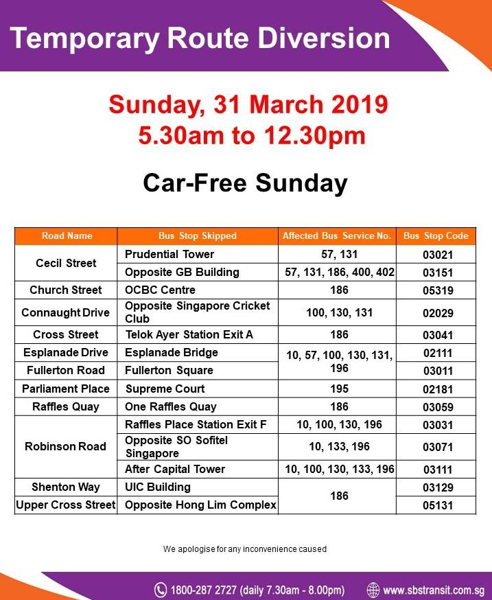 SBS Transit Poster for Car-Free Sunday Mar 2019