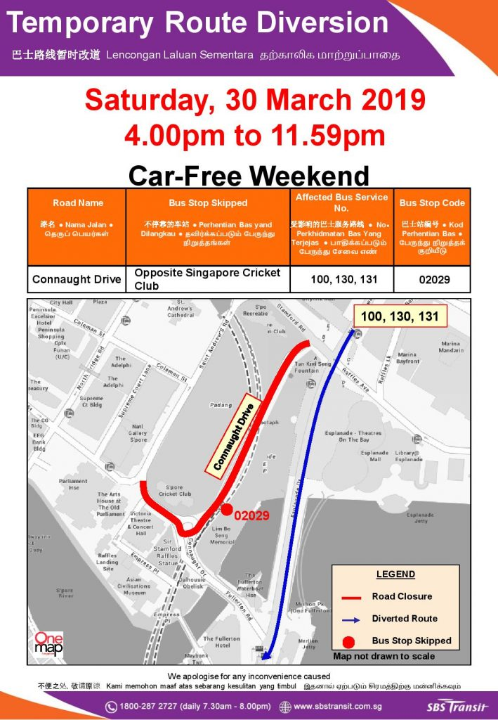 SBS Transit Poster for Car-Free Weekend Mar 2019 (Sat)