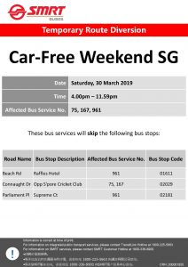 SMRT Buses Poster for Car-Free Weekend Mar 2019 (Sat)