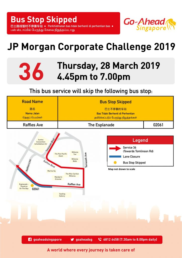 Go-Ahead Diversion Poster for JP Morgan Corporate Challenge 2019