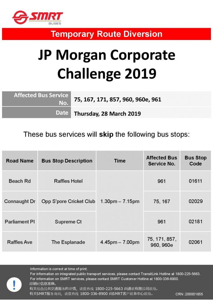 SMRT Buses Diversion Poster for JP Morgan Corporate Challenge 2019