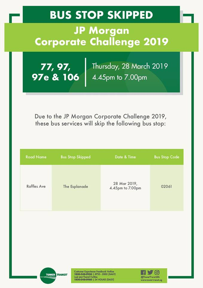 Tower Transit Diversion Poster for JP Morgan Corporate Challenge 2019
