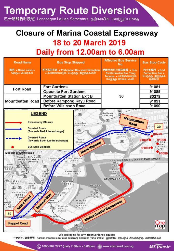 SBS Transit Poster for MCE Closure (Mar 2019)