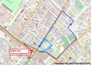 ODPB NB - BusNow App Routing - False Right Turn Restriction from Sungei Road to Bencoolen Street