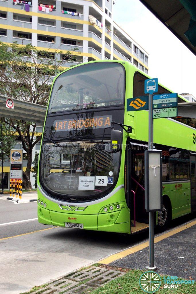 SMRT Task Force 50 Volvo B9TL (SG5494M) on LRT Bridging A during the Bukit Panjang LRT Disruption on 2 April 2019